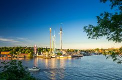 Djurgarden island and Tivoli carousel attractions, Stockholm, Sw royalty free stock photos