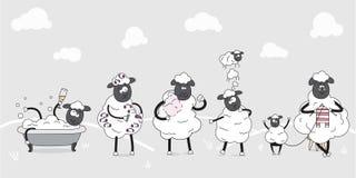 djurlantgårdliggande sommar för många sheeeps Familj av gulliga sheeps children illustration roliga tecknad filmtecken Dagliga up Arkivbilder