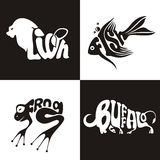 Djurlogobuffel, lejon, groda, fisk Arkivfoto