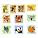 djursamlingsstämplar royaltyfri illustrationer