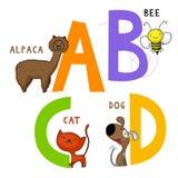 Djurt alfabet A, B, C och D stock illustrationer