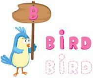 Djurt alfabet b med fågeln Arkivbild