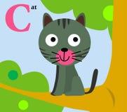 Djurt alfabet för ungarna: C för katten Royaltyfri Foto