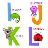 Djurt alfabet I, J, K och L royaltyfri illustrationer