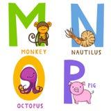 Djurt alfabet M, N, nolla och P royaltyfri illustrationer