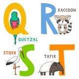 Djurt alfabet Q, R, S och T stock illustrationer
