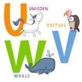 Djurt alfabet U, V och W royaltyfri illustrationer