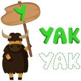 Djurt alfabet y med yak Royaltyfri Bild