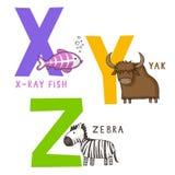 Djurt alfabet X, Y och Z vektor illustrationer