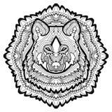 Djurt begrepp planlägg linjen Huvudet av en varg Fotografering för Bildbyråer