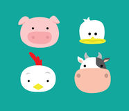 Djurt Head svin Duck Chicken Cow Vector Illustration Royaltyfri Bild