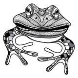 Djurt head symbol för groda för illustrationen för maskot- eller emblemdesignvektor för t-skjorta Royaltyfri Fotografi