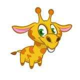 djurt wild tecknad filmgiraffdäggdjur Vektorillustration av den roliga gulliga giraffet arkivbilder