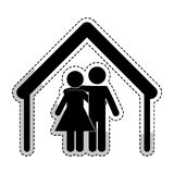 2016 11 28 DJV ANG 085 A. Sticker of house shape with couple icon over white background. pictogram design. vector illustration stock illustration