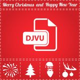 DJVU Icon Vector. And bonus symbol for New Year - Santa Claus, Christmas Tree, Firework, Balls on deer antlers Royalty Free Stock Images