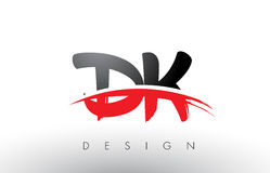 DK D K Brush Logo Letters with Red and Black Swoosh Brush Front Royalty Free Stock Photos