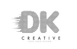 DK D K Letter Logo with Black Dots and Trails. Royalty Free Stock Images