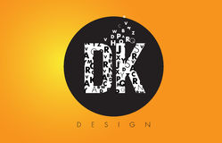 DK D K Logo Made of Small Letters with Black Circle and Yellow B Stock Photography