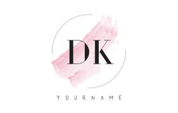 DK D K Watercolor Letter Logo Design with Circular Brush Pattern Royalty Free Stock Photo