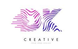 DK D K Zebra Lines Letter Logo Design with Magenta Colors Royalty Free Stock Photo