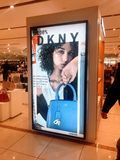 DKNY counter in shopping mall, London royalty free stock photography