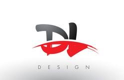 DL D L brosse Logo Letters avec l'avant de brosse de bruissement de rouge et de noir Images libres de droits