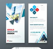 DL Flyer design. Blue template dl flyer banner. Layout with modern triangle photo and abstract background. Creative. Concept flyer, banner or brochure Stock Photos
