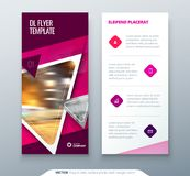 DL Flyer design. Pink template dl flyer banner. Layout with modern triangle photo and abstract background. Creative. Concept flyer, banner or brochure for Stock Photo