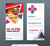 DL Flyer design. Red, orange template dl flyer banner. Layout with modern triangle photo and abstract background. Creative concept flyer, banner or brochure Stock Image