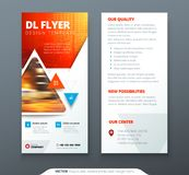 DL Flyer design. Red, orange template dl flyer banner. Layout with modern triangle photo and abstract background. Creative concept flyer, banner or brochure Royalty Free Stock Image