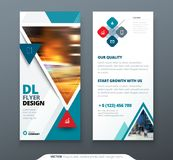 DL Flyer design. Teal template dl flyer banner. Layout with modern triangle photo and abstract background. Creative. Concept flyer, banner or brochure Stock Image
