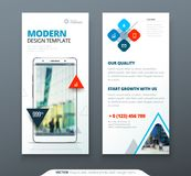 DL Flyer design. Template dl flyer banner. Layout with modern triangle photo and abstract background. Creative concept. Flyer, banner or brochure stock illustration