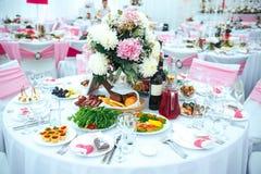 Dla ślubu stołowy set obraz stock