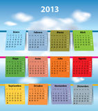 Dla 2013 Hiszpańszczyzna kolorowy kalendarz ilustracja wektor