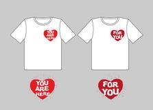 Dla ciebie kierowego Ty jesteś w sercu Logo dla koszulek Szyldowy fo Obrazy Stock