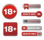 18 dla dorosłych tylko guzika setów Obraz Stock