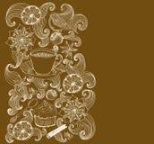 Dla herbacianego czas Doodle tło Zdjęcia Royalty Free