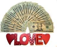 Dla miłości pieniądze Fotografia Royalty Free