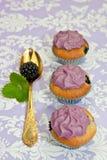 Dla przyjęcia czarny jagodowe babeczki Fotografia Royalty Free