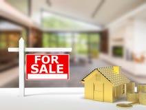 Dla sprzedaż znaka domu Obrazy Stock