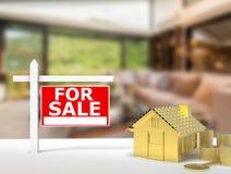 Dla sprzedaż znaka domu Fotografia Stock