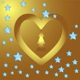 Dla walentynki serce złocista rama Fotografia Royalty Free