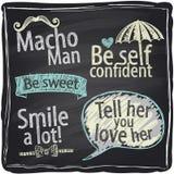 Dlaczego być macho mężczyzna chalkboard tłem. Obrazy Stock