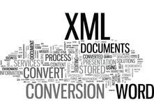 Dlaczego konwertyta proces W słowie Xml dokumentów słowa chmura ilustracja wektor