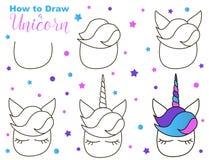 Dlaczego rysować ślicznej jednorożec Łatwi kroki dla dziecko aktywności Kawaii istota z oczami i bujny obraz stock