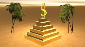 Dólar amarillo en una pirámide en desierto Imagen de archivo