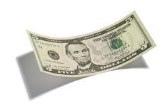 Dólar Bill de cinco aislado Imágenes de archivo libres de regalías