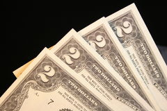 Dólar Bill de dos Imagen de archivo