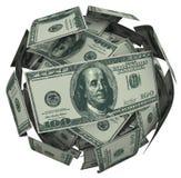 Dólar Bill Money Ball Cash Currency de Hunded Fotos de archivo libres de regalías