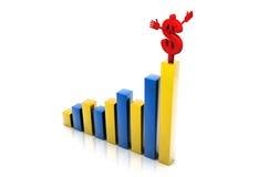 Dólar con el gráfico del aumento Fotos de archivo